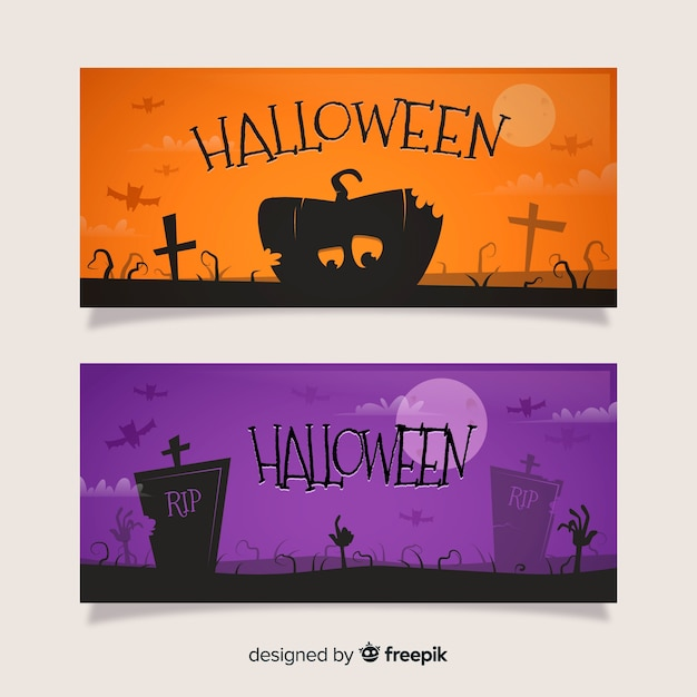 Flat halloween banners orange and purple Free Vector
