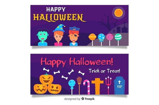 Flat halloween banners with children and lollipops Free Vector