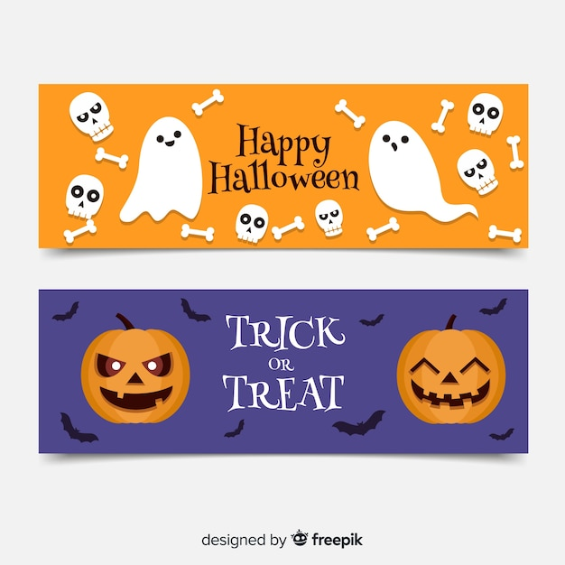 Flat halloween banners with ghosts and pumpkins Free Vector
