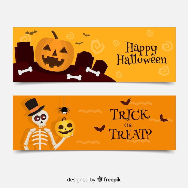 Flat halloween banners with pumpkin and skeleton Free Vector