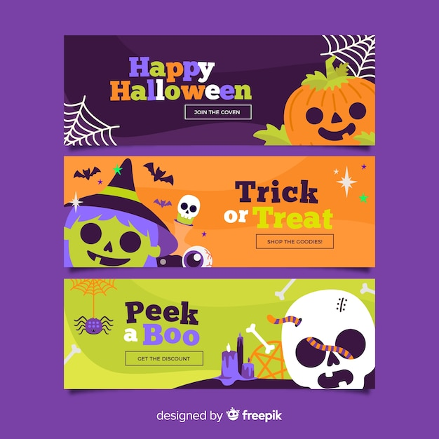 Flat halloween banners with spooky creatures Free Vector