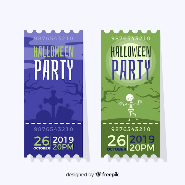 Flat halloween blue and green tickets Free Vector