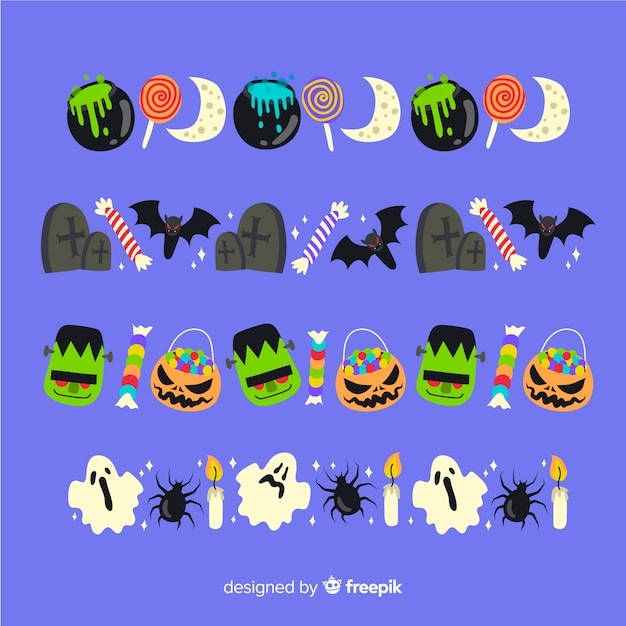 Flat halloween border collection on blue background Free Vector