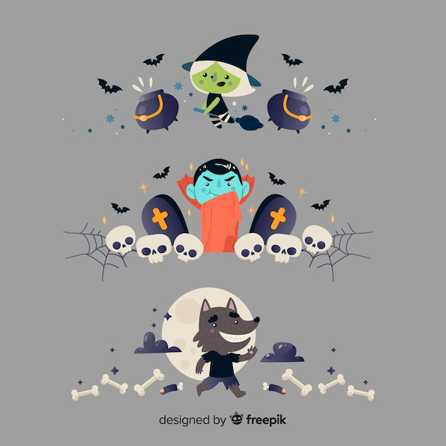 Flat halloween border collection on grey background Free Vector
