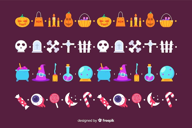 Flat halloween border collection on violet background Free Vector