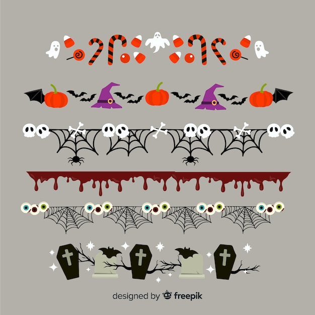 Flat halloween border collection Free Vector