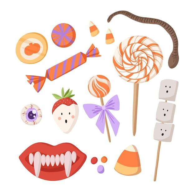 Плоская коллекция конфет хэллоуин Бесплатные векторы
