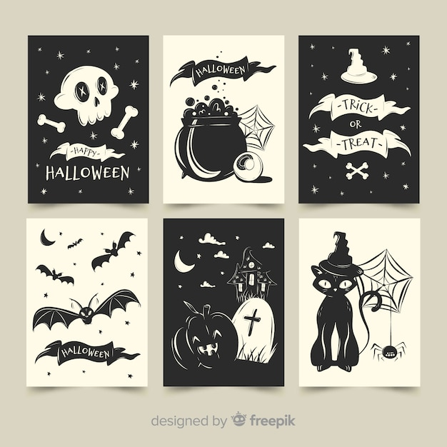 Flat halloween card collection in black and white Free Vector