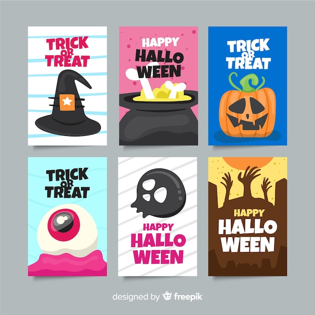 Flat halloween card collection Free Vector