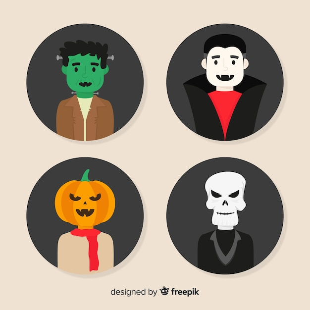Flat halloween character collection Free Vector
