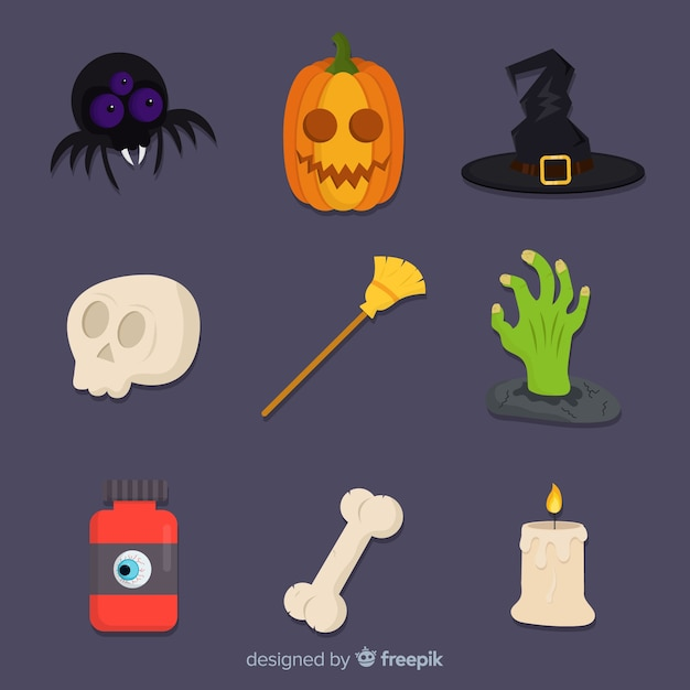 Flat halloween cute element collection Free Vector