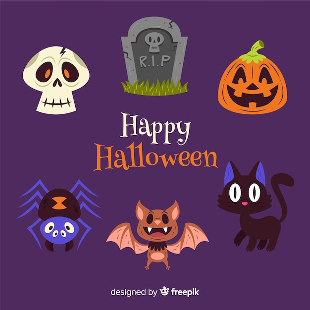 Flat halloween decoration collection Free Vector