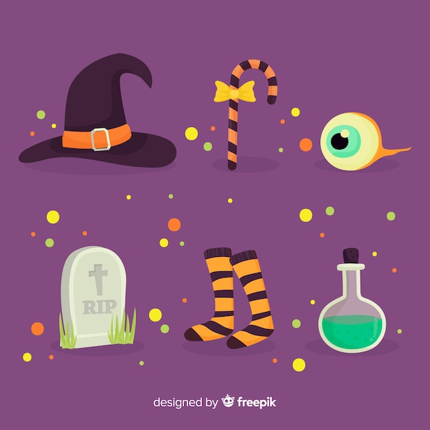 Flat halloween element collection Free Vector