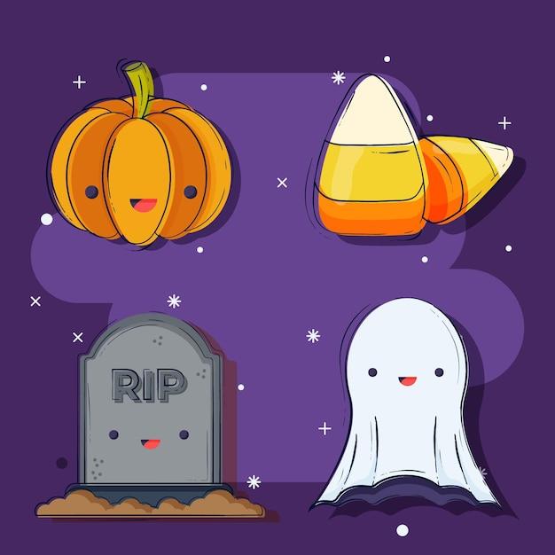 Collezione di elementi di halloween piatta Vettore gratuito