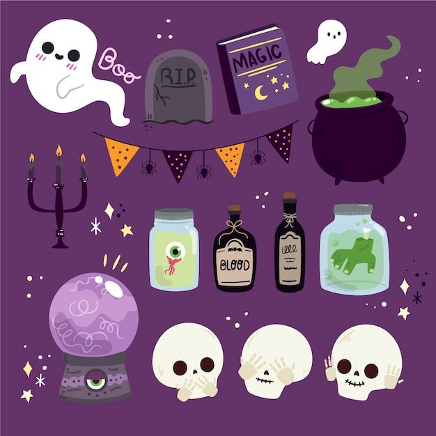 Collezione di elementi di halloween piatto Vettore gratuito