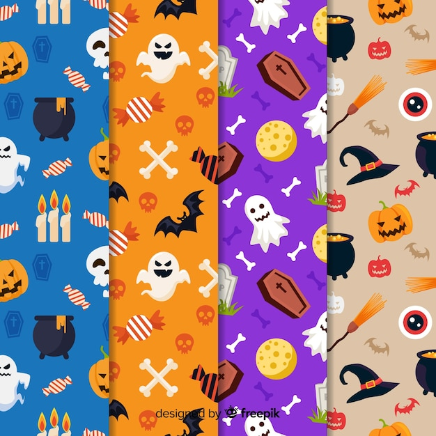Flat halloween element pattern collection Free Vector