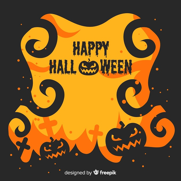 Flat halloween frame in flaming yellow and black design Free Vector