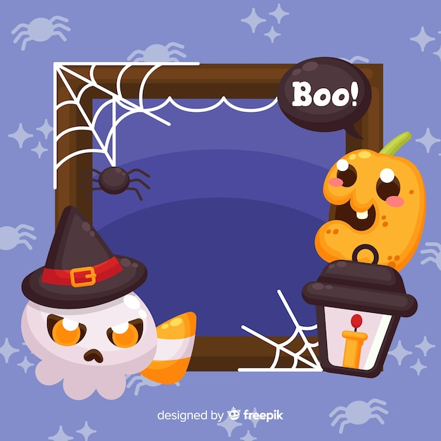 Flat halloween frame with ghost and pumpkin child Free Vector