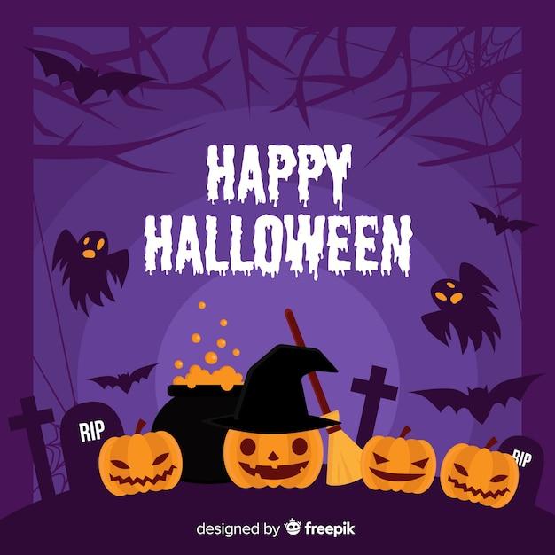 Flat halloween frame with occult pumpkin decor Free Vector