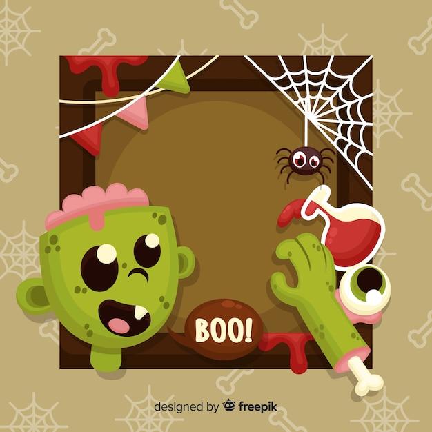 Плоская рамка для хэллоуина с зомби Бесплатные векторы
