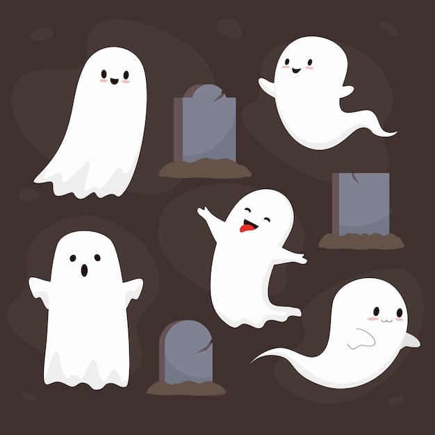 Collezione di fantasmi di halloween piatto Vettore gratuito