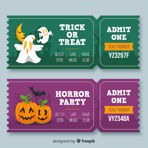 Flat halloween ghosts and pumpkin tickets Free Vector