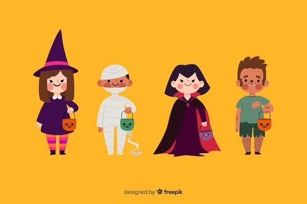 Flat halloween kid collection on yellow background Free Vector