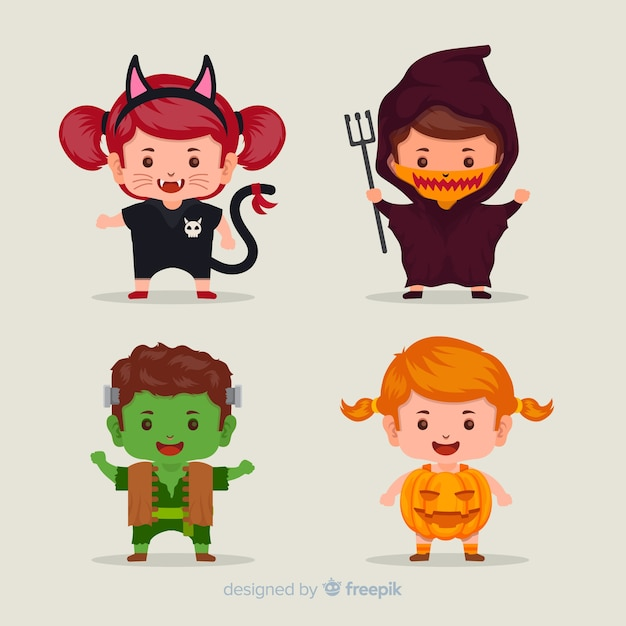 Flat halloween kid collection Free Vector