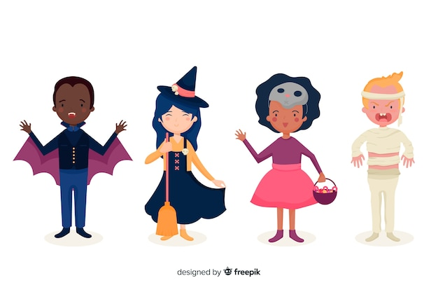 Flat halloween kid costume collection Free Vector