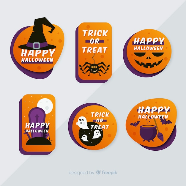 Flat halloween label and badge collection on grey background Free Vector