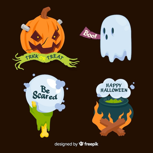 Flat halloween label and badge collection Free Vector