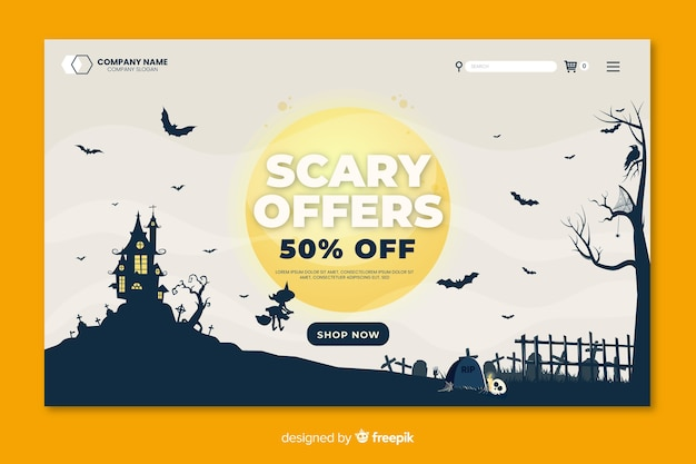 Flat halloween landing page scary offers on a full moon night Free Vector