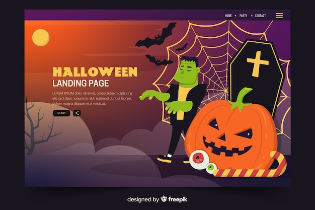 Flat halloween landing page with zombie and tombstones Free Vector