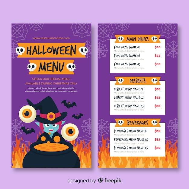 Flat halloween melting pot menu template Free Vector