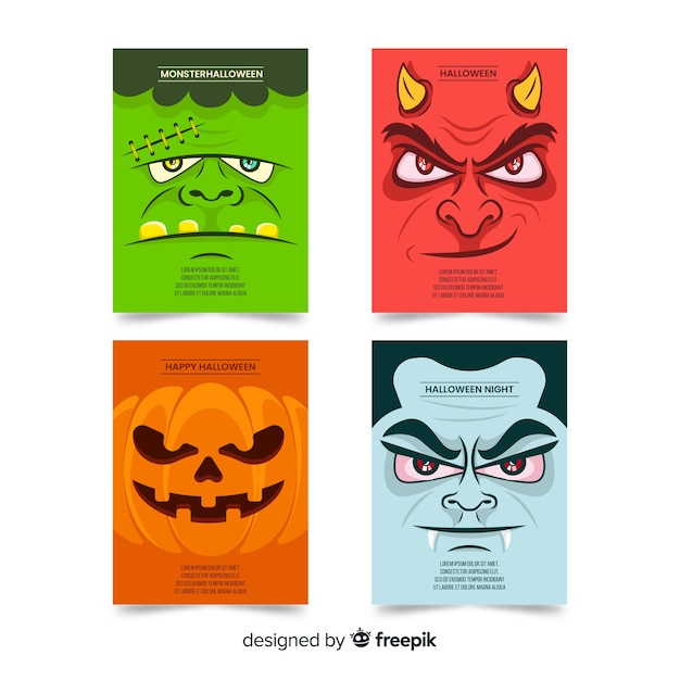 Flat halloween monsters card collection Free Vector