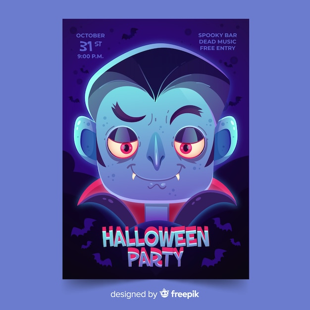 Flat halloween party flyer template Free Vector