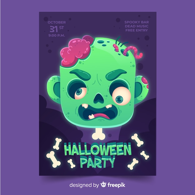 Flat halloween party poster template Free Vector