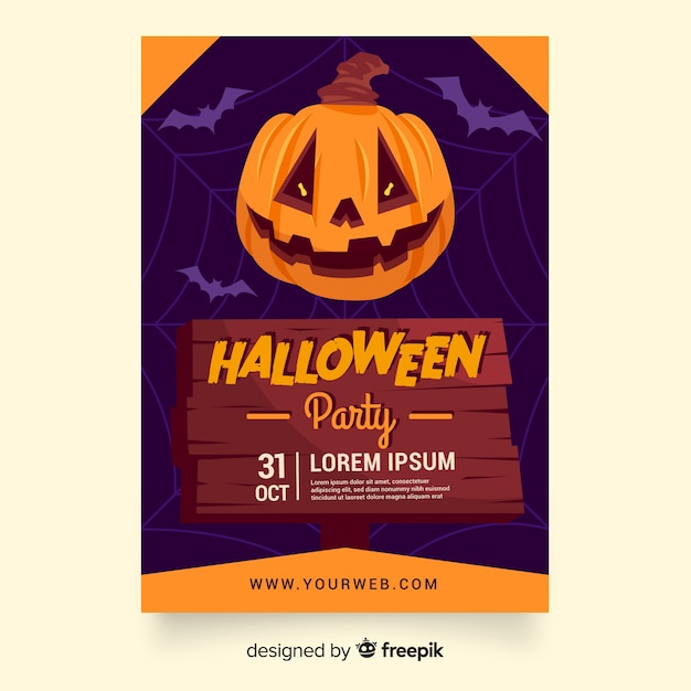 Flat halloween party pumpkin poster or flyer template Free Vector