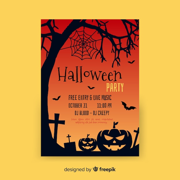 Flat halloween party template Free Vector
