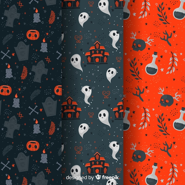 Flat halloween pattern collection goth elements Free Vector
