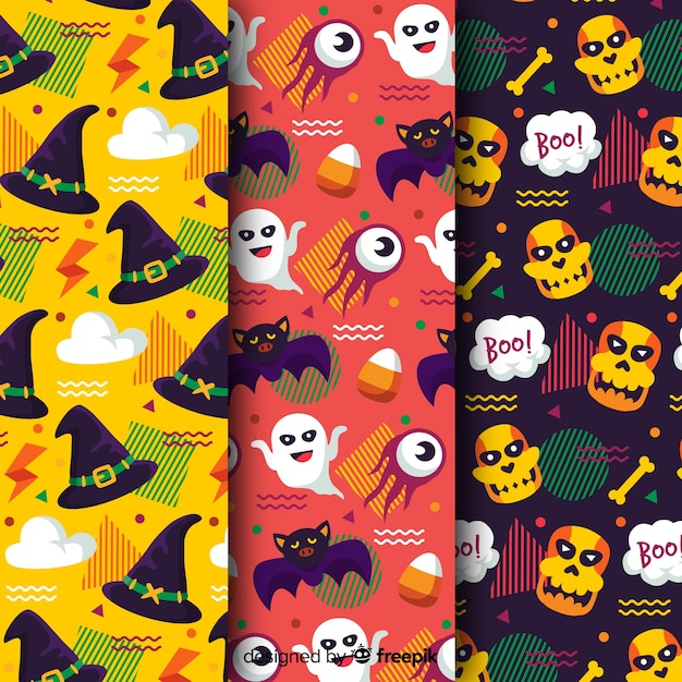 Flat halloween pattern collection in reggae colours Free Vector