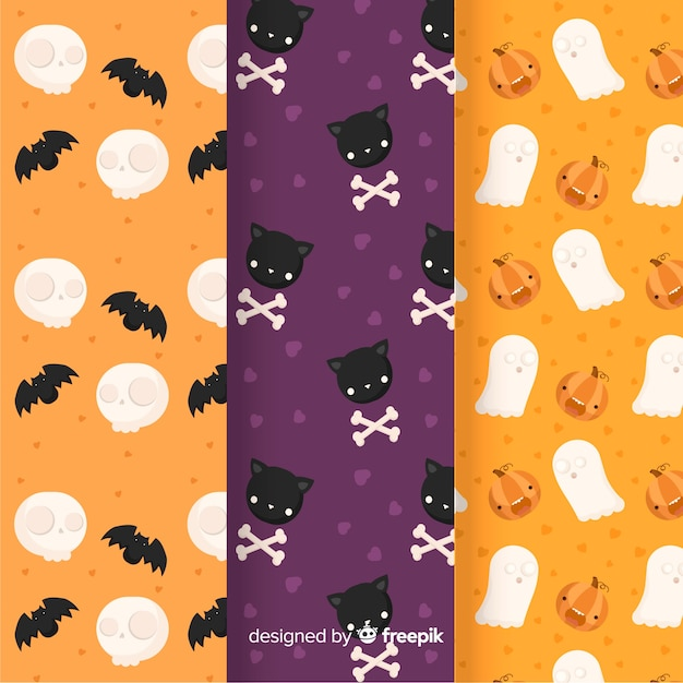 Flat halloween pattern collection Free Vector