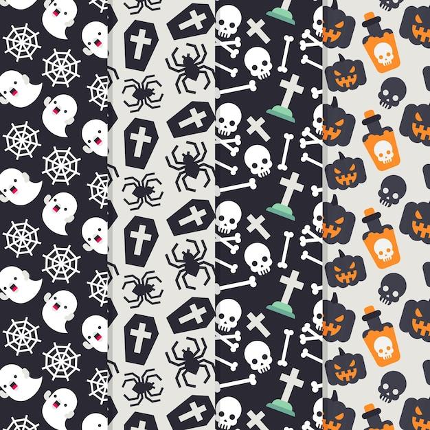 Concetto di modelli di halloween piatta Vettore gratuito