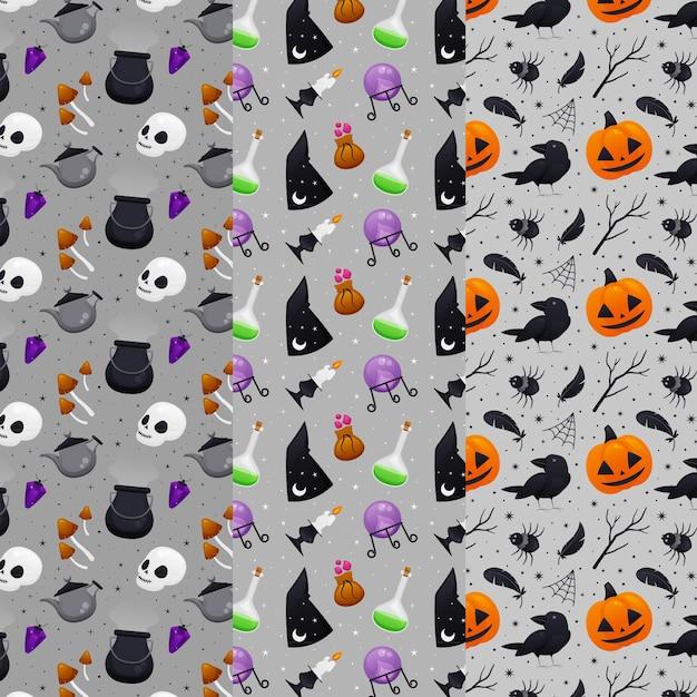 Concetto di modelli di halloween piatto Vettore gratuito