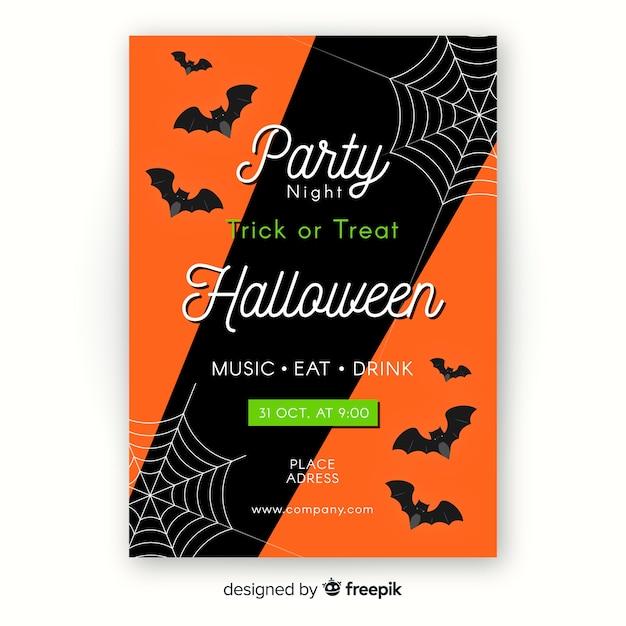 Flat halloween poster template Free Vector