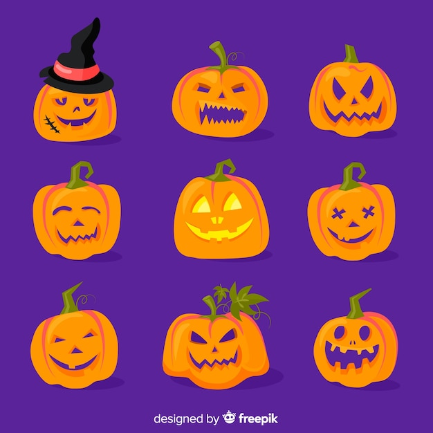 Flat halloween pumpkin collection on blue background Free Vector