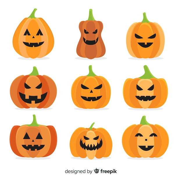 Flat halloween pumpkin collection on white background Free Vector