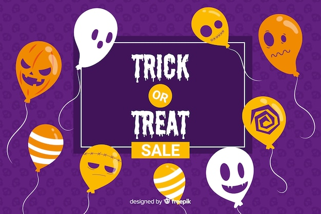 Flat halloween sale background with balloons Free Vector
