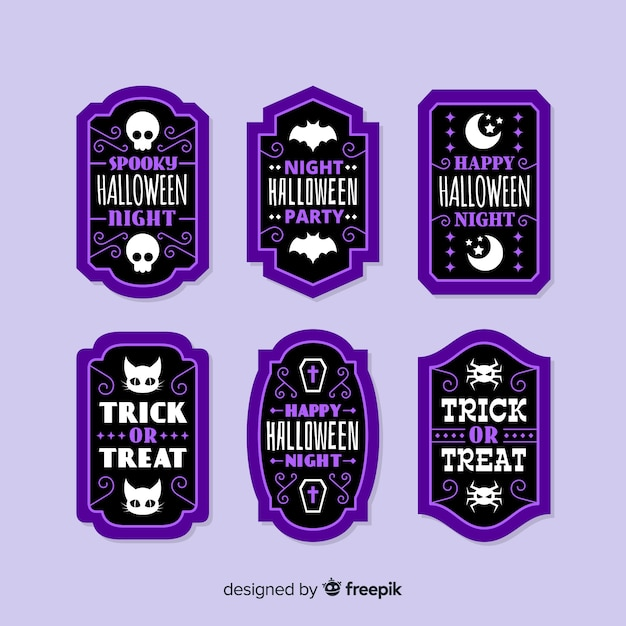 Flat halloween sale badge collection in purple Free Vector