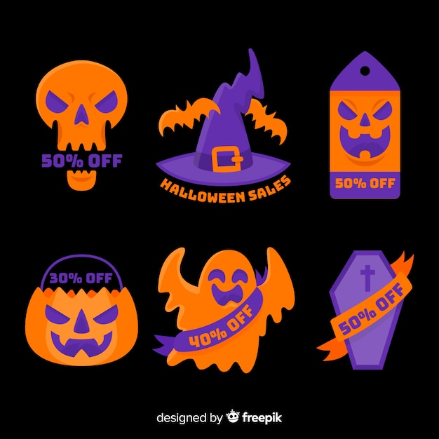 Flat halloween sale badge collection Free Vector